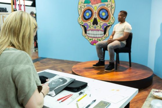 North east artist Lindsey Gallacher draws actor Ashley Walters.