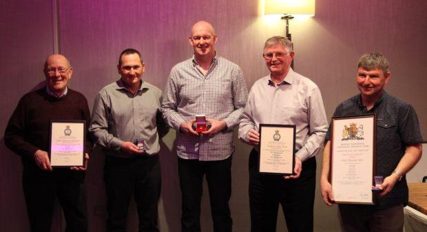 Left to right:  John Ingram, Colin Wood, Chassey Findlay, John West, Derek Mair.