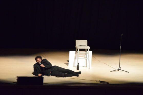 Nish Kumar on stage at Aberdeen Music Hall