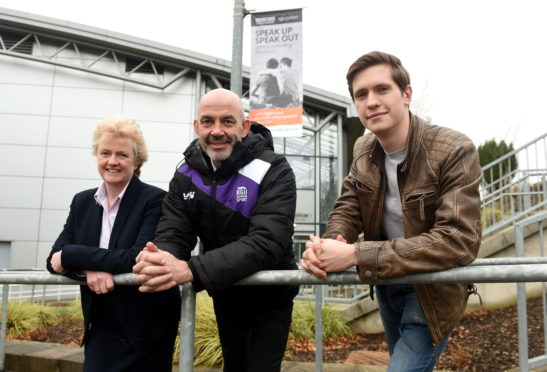 "(L-R) Liz Hancock, Filippo Antoniazzi and Adam James Johnston who are part of the ""Speak Up - Speak Out"" campaign at Robert Gordon University, Garthdee, Aberdeen."