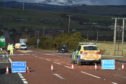 The scene of the incident on the A835.