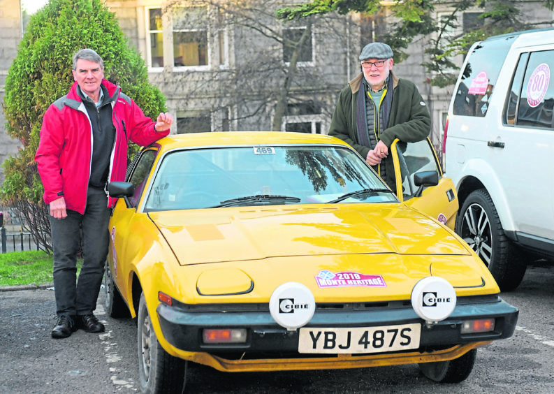 Ferryhill Hotel. Classic cars on the historic Monte Carlo classic run. Duncan Massie and Ron Adam with their Triumph TR7. 30/01/19 Picture by KATH FLANNERY
