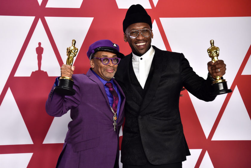 Spike Lee and Mahershala Ali with their Academy awards.