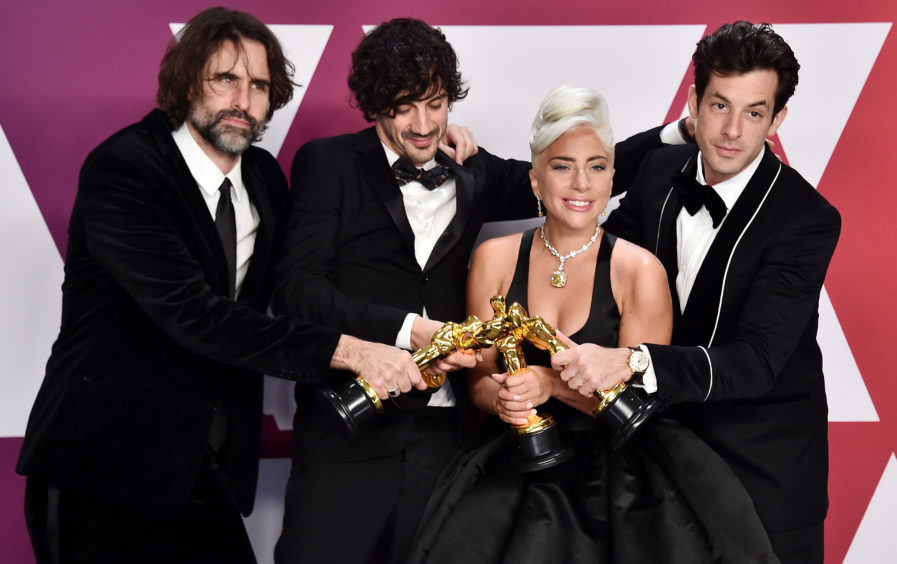 Andrew Wyatt, Anthony Rossomando, Mark Ronson and Lady Gaga, winners of Best Original Song for Shallow from A Star is Born.