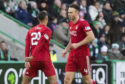 Aberdeen's Andrew Considine (R) celebrates his goal to make it 1-1.