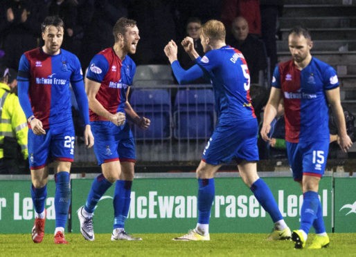 19/01/19 WILLIAM HILL SCOTTISH CUP 5TH ROUND REPLAY INVERNESS CALEDONIAN THISTLE v ROSS COUNTY TULLOCH CALEDONIAN STADIUM - INVERNESS Inverness' Jordan White (centre) celebrates with teammate Coll Donaldson (5) after making it 2-2.