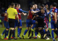 19/01/19 WILLIAM HILL SCOTTISH CUP 5TH ROUND REPLAY INVERNESS CALEDONIAN THISTLE v ROSS COUNTY TULLOCH CALEDONIAN STADIUM - INVERNESS Both the Inverness' and Ross County players clash on the field.