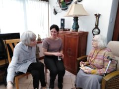 Volunteers Lynda Cameron (L) and Lorna Cameron with guest Peggy at launch of Contact the Elderly's Buckie group