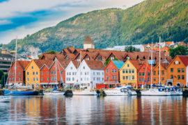 View of historical buildings in Bryggen.