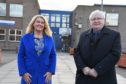 Councillors Dianne Beagrie and Norman Smith outside the current Peterhead Academy.