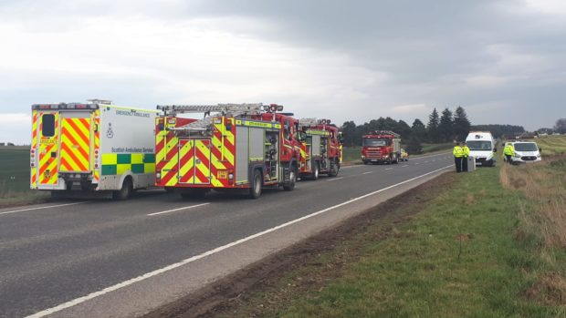 Police are in attendance at an single road traffic accident on the A96 Inverness to Nairn Road, at Dalcross.