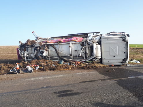 Damaged Lanes Group tanker on the verge of the A950 between New Pitsligo and Mintlaw after being involved in accident