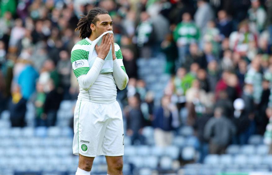 Dejection for Celtic's Jason Denayer at full-time.