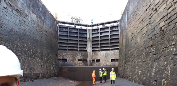 The canal at Fort Augustus has been drained for maintenance work, offering an opportunity for visitors to take a look at the bottom of the basin.