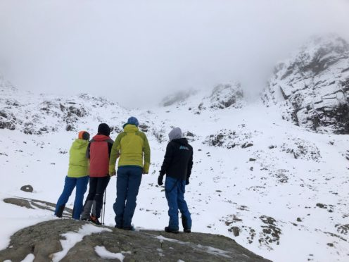 Nathalie, Marc, Graeme of Scottish Avalanche Information Service (SAIS) and Laurent below the site of the incident.