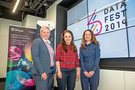 The opening of the Highlands & Islands DataFest 2019 Fringe, part of the UK's first two week festival of Data Innovation in Scotland.  MSP Kate Forbes announces the opening of the TDL hub in Inverness from April 2019.  Pictured: (L-R) Gillian Docherty, CEO of The Data Lab,  Kate Forbes MSP, Minister for Public Finance and Digital Economy for the Scottish Government and  Theresa Swayne, Senior Development Manager, HIE Business and Sector Development Directorate