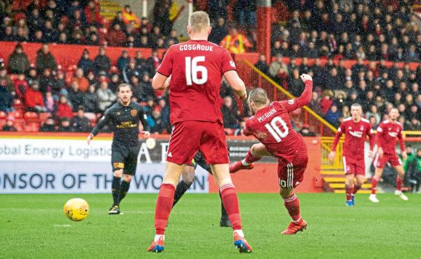 16/03/19 LABDROKES PREMIERSHIP ABERDEEN v LIVINGSTON PITTODRIE - ABERDEEN Aberdeen's Niall McGinn opens the scoring