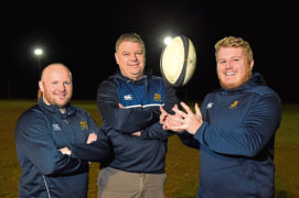 Gordonians RFC  Picture of (L-R) head coach Ryan Morrice, president Jim Sugden and club captain Tom Williams.  Picture by Kenny Elrick