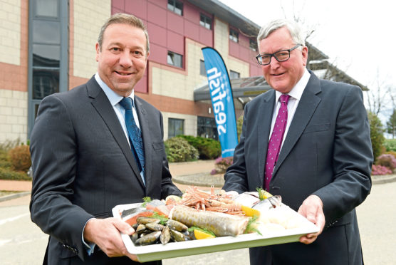 Scottish Seafood Summit  Pictured are Seafish chief executive Marcus Coleman and Fisheries Secretary Fergus Ewing outside the Double Tree by Hilton, Aberdeen Beach. Picture by DARRELL BENNS   Pictured on 27/03/2019   CR0007499