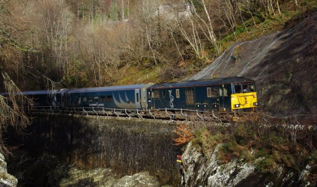 Caledonian Sleeper's new trains at Monessie Gorge.