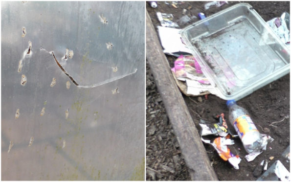 Vandals slashed a polytunnel and dumped rubbish in planters.