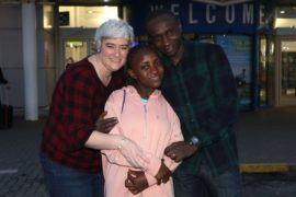 Black Watch soldier Lance-Corporal Denis Omondi and his wife Shelagh met Denis's daughter Anne at Inverness Airport, when she arrived from Kenya after an immigration battle.