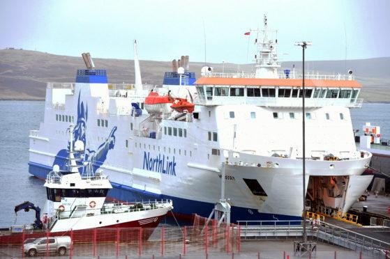 Northlink ferries at their Lewick terminal.