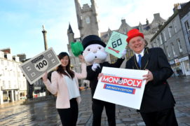 Jennifer Lau (Custom Games Executive at Winning Moves UK, Mr MONOPOLY and Barney Crockett (Lord Provost of Aberdeen).