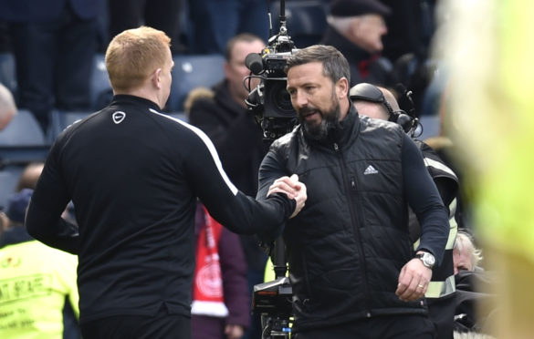 Derek McInnes shakes hands with Neil Lennon prior to the 2017 Scottish Cup semi-final.