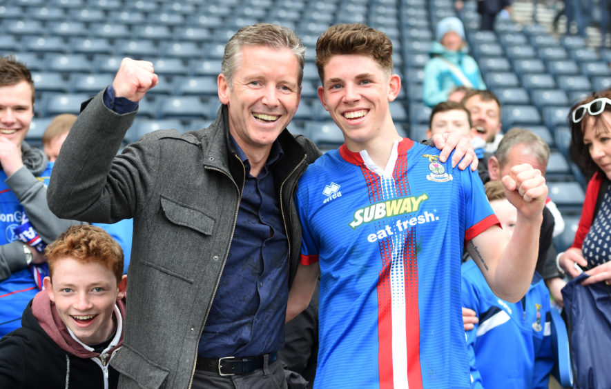 Inverness CT's Ryan Christie (right) celebrates at full-time with his dad Charlie.
