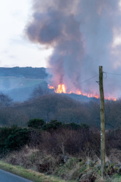 This is the scene of the Gorse Fire at Culvie Hill near Cornhill, Aberdeenshire, Scotland on Tuesday 5 March 2019. Photographed by JASPERIMAGE ©.