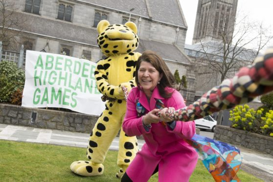 26/03/19 Councillor Marie Boulton along with Spotless the Leopard help promote the 2019 Aberdeen Highland games-