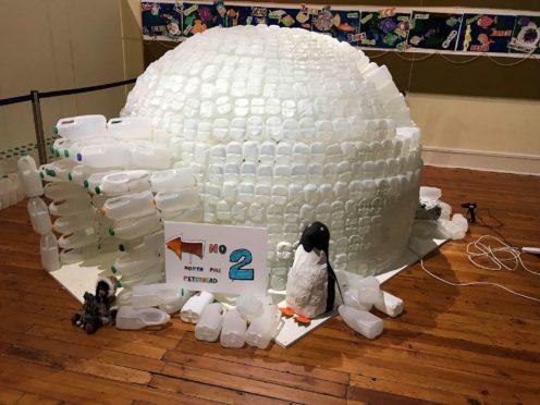 The milk carton igloo at Arbuthnot Museum in Peterhead.