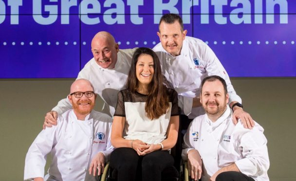 Lucy Lintott surrounded by chefs Gary Maclean, George McIvor, Robert Lintott, Kenneth Hett.