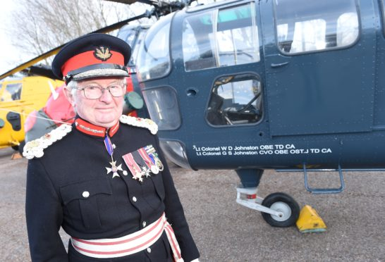 A Dragonfly helicopter at Morayvia has been christened by Moray Lord Lieutenant Grenville Johnston in honour of his father, Lt Col William Johnston.