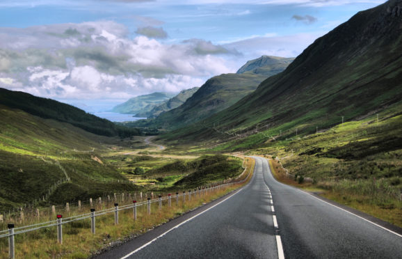 Traffic on the busy NC500 route at Applecross