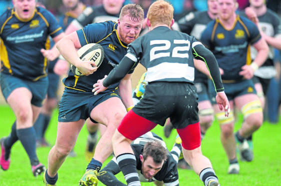 Gordonians' Peter Johnston has the try line in his sights as he takes on the Perthshire defence.