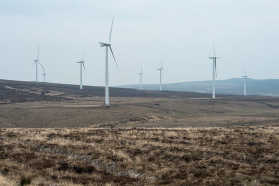 Wind Turbines at Rothes Wind Farm.