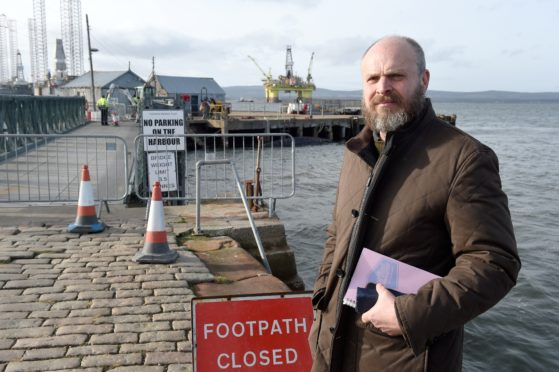 Tony Vandyke, chairman of the Cromarty Harbour Trust at the site where the object was discovered.