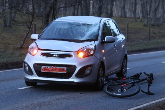 The incident involved a silver Kia car and a cyclist on the B9152 near Aviemore on Monday.