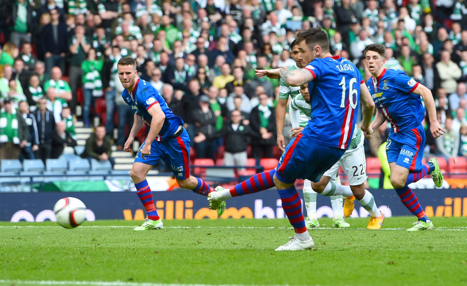 Inverness CT's Greg Tansey scores his side's equalising goal from the penalty spot