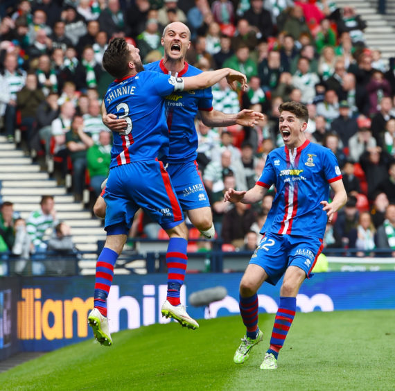 Inverness CT's David Raven (2nd from left) celebrates his goal with his team-mates