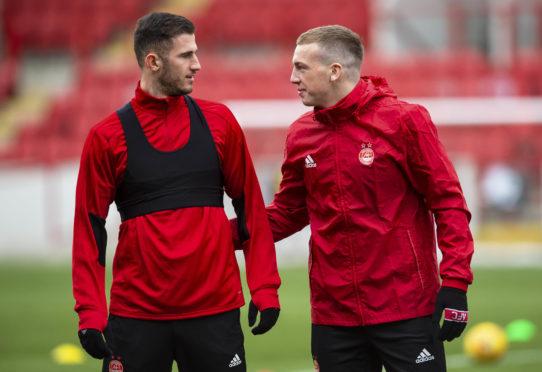 Aberdeen's Dominic Ball (L) and Lewis Ferguson.