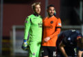 Scott Fox and Nicky Clark during Tuesday's game between County and Dundee United.