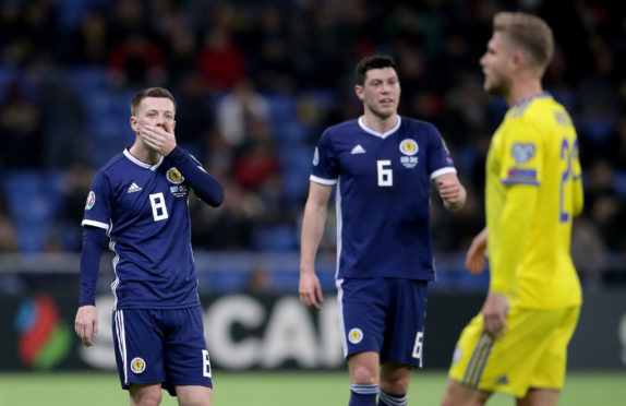 Scotland's Callum McGregor appears dejected during the UEFA Euro 2020 Qualifying, Group I match at the Astana Arena.