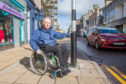 Nairn Access Panel Chairman Seamus McArdle  at the new crossing point on the busy High Street in Nairn.