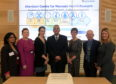 The first anniversary of the official opening of the University's Centre for Women's Health Research. From left, Dr Abha Maheshwari, Dr Andrea Woolner, Dr Mairead Black, Prof Mohamed Abdel-Fattah, Prof Maggie Cruickshank, Prof George Boyne (Principle) and Liz Bowie Director of Development & Alumni Relations. 06/04/19 Picture by KATH FLANNERY