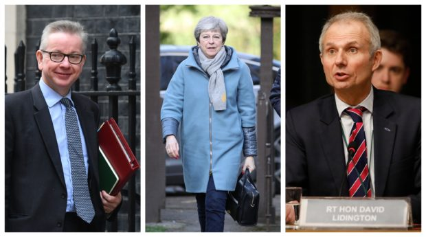 Stuck in the middle with you: Michael Gove and David Lidington both restated their backing for the Prime Minister