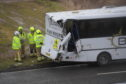 A bus and lorry were involved in a collision on the A90 road