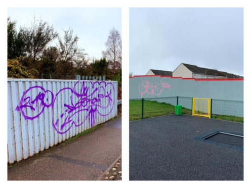 Calls have been made for greater community policing after vandals have left murals across the city, damaged a play facility and smashed panels on a nearby bus stop.